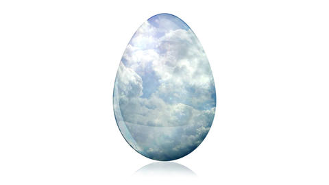 Glass Easter Egg with Clouds Animation