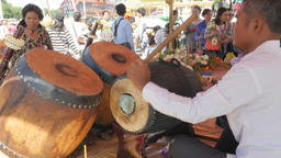 Drum being played at Dorngkeur Shrine,Phnom Penh,Cambodia Footage