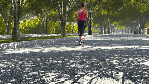 Young woman jogging in the park Footage