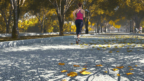 Young woman jogging in the autumn park Footage