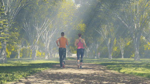 Young couple running at sunny forest Rear view 4K ภาพไม่มีลิขสิทธิ์