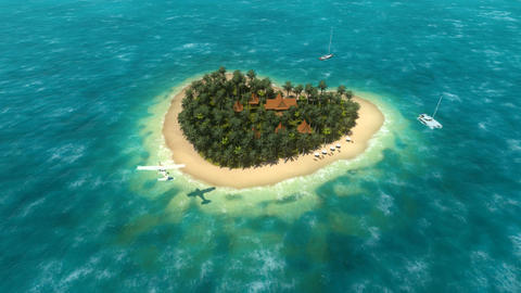 Small airplane landing approach near heart shaped tropical island Footage