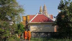Monks walking towards Wat Bo Knong,Battambang,Cambodia Footage