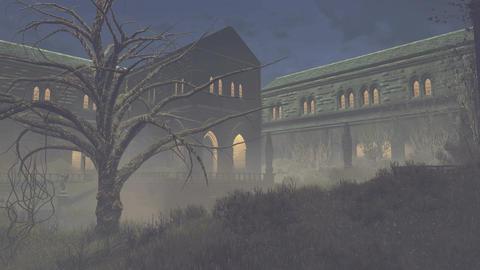 Gloomy medieval mansion at night 4K Footage