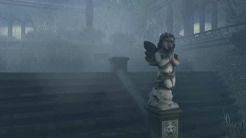 Gloomy abandoned mansion at misty night Tilt up 4K Footage