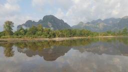 Karst mountains reflected in pool,Vang Vieng,Laos Footage