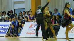 Jury member looks at dance contest and gives points,Ubon Ratchathani,Thailand Footage