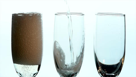 Champagne Glass Closeup - three glasses filled side by side Live Action