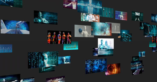 Video Marketing Concept with Flowing Screens Wall Live Action