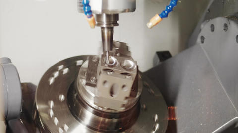 Lathe tool with CNC, Y-axis electric module milling detail Footage