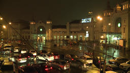 Moscow. Belorussky Railway Station At Night. Trains.