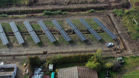 Place of construction new modern solar power station, architecture work place, aerial view Live Action
