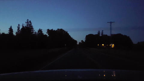 Rear View From Back of Car Driving Rural Countryside Road During Night. Car Point of View POV Behind Live Action