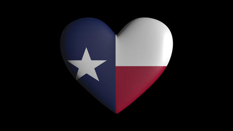 Texas heart pulsate isolate on transparent background loop, alpha channel Animation