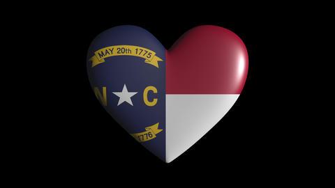 North Carolina heart pulsate isolate on transparent background loop, alpha Animation