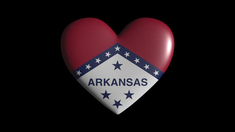 Arkansas heart pulsate isolate on transparent background loop, alpha channel Animation