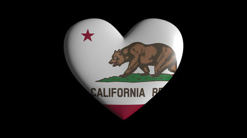 California heart pulsate isolate on transparent background loop, alpha channel Animation