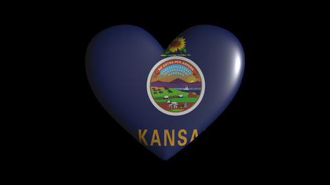 Kansas heart pulsate isolate on transparent background loop, alpha channel Animation