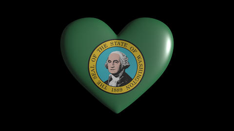 Washington heart pulsate isolate on transparent background loop, alpha channel Animation