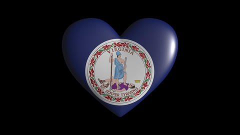 Virginia heart pulsate isolate on transparent background loop, alpha channel Animation