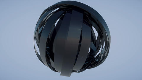 Rotating sphere made of reflective dark glass blades looping Animation