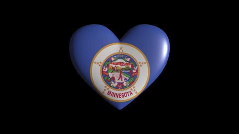 Minnesota heart pulsate isolate on transparent background... Stock Video Footage