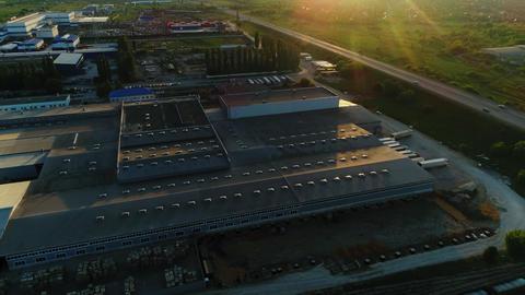 industrial complex with warehouse near field bird eye view Footage