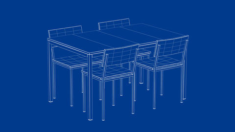 3d model of dining table and chairs Animation