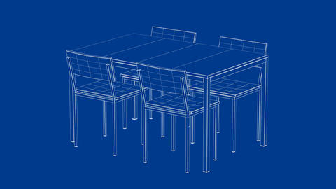 3d model of dining table and chairs, Stock Animation