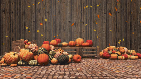 Pumpkins and falling autumn leaves on wooden background Videos animados