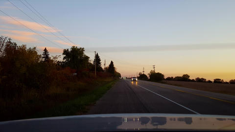 Rear View From Back of Car Stranded on Side of Road Rural... Stock Video Footage
