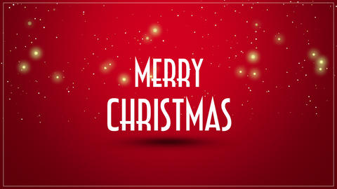 Animated close up Merry Christmas text on red background Animation