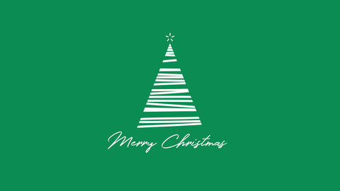 Animated closeup Merry Christmas text, white Christmas tree on green background Animation