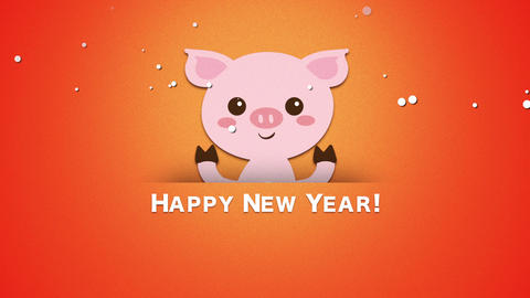 Animated closeup Happy New Year text and funny pig Animation