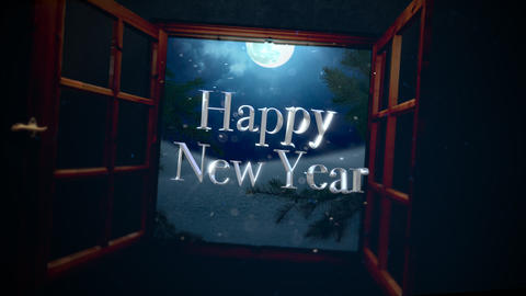 Animated closeup Happy New Year text with open window, away mountains and moon landscape Animation