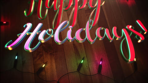 Animated closeup Happy Holidays text and colorful garland on wood background Animation