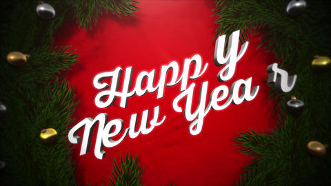 Animated closeup Happy New Year text, colorful garland and green tree branches on wood background Animation