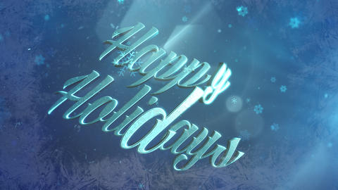 Abstract blue snow falling and animated close up Happy Holidays text on shiny background Animation