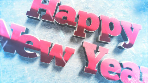 Animated closeup Happy New Year text, green tree branches and toys on snow background Animation