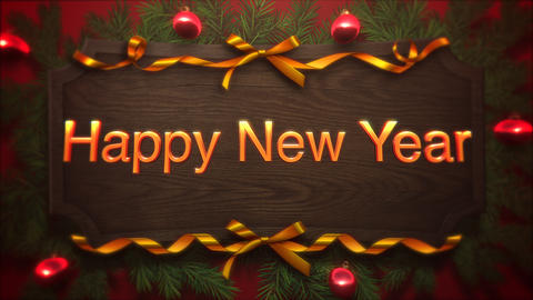 Animated closeup Happy New Year text, red balls and green branch on wood background Animation