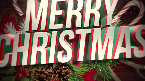 Animated closeup Merry Christmas text, white snowflakes on candy and green Christmas branch, wood Animation
