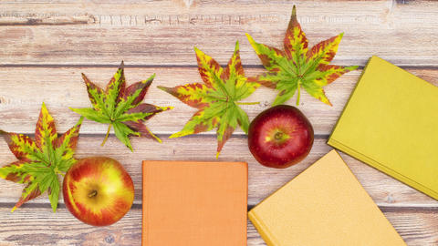 Beautiful autumn concept of books, apples, leaves and pine cones appear on wooden table - Stop Animation