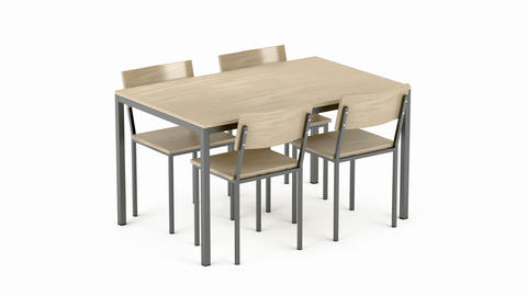 Wood dining table and chairs Animation