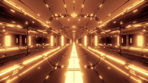 futuristic scifi tunnel corridor with nice glowing lights 3d illustration live Animation
