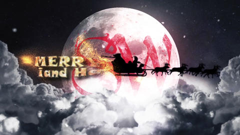 CHRISTMAS SKY SANTA LOGO REVEAL After Effects Template