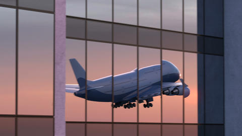 Airplane Takes Off in the Reflection of the Airport Against Sunrise Animation