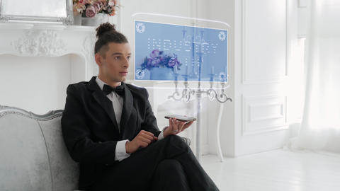 Young man uses hologram Industry 4-th Footage