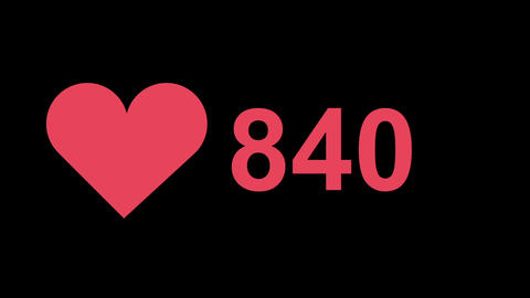 1000 Like heart count animation with alpha Animation