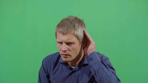 Adult Man Using Hands As Hearing Device Footage