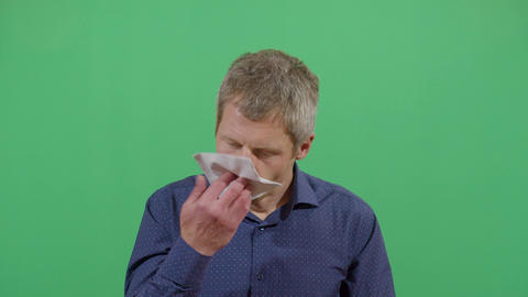 Adult Man Blowing His Nose With Paper Footage